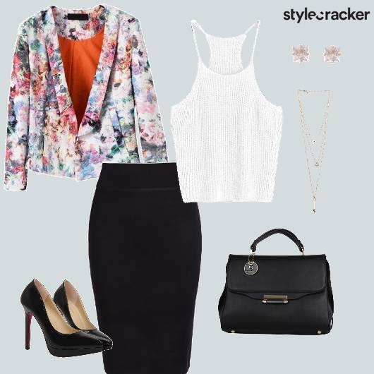 Printed Blazer Pencilskirt Handbag Pumps workwear - StyleCracker