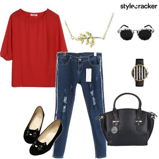 Top Distressedjeans Handbag Casual - StyleCracker