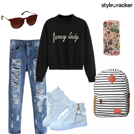 Sweatshirt DistressedDenims Sneakers Casual - StyleCracker