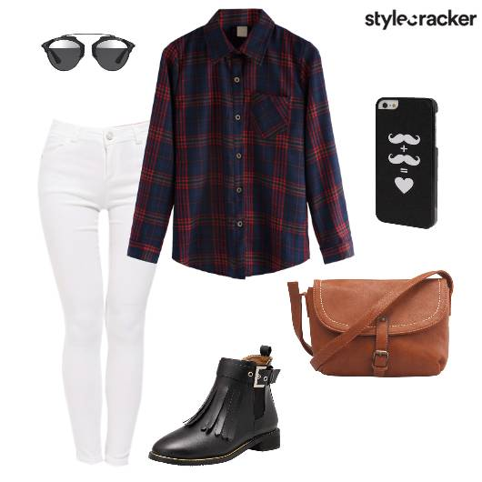 Plaidshirt Whitepants Tassledboots Crossbodybag Casual - StyleCracker