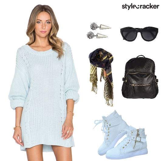 SweaterDress Sneakers LeatherBackpack Travel - StyleCracker
