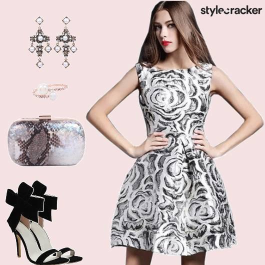 PartyWear Sleeveless JacquardDress  - StyleCracker