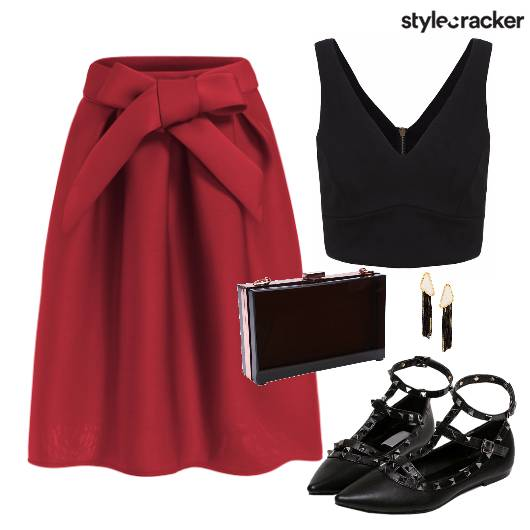 Skirt Top Clutch Shoes Earings - StyleCracker