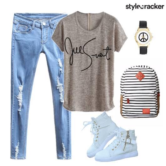 DistressedDenims BasicTee Sneakers BackPack - StyleCracker