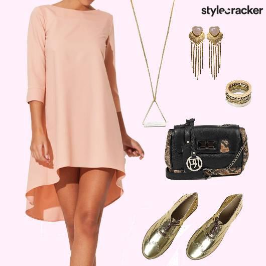 GoldShoes AsymmetricSlipDress  - StyleCracker