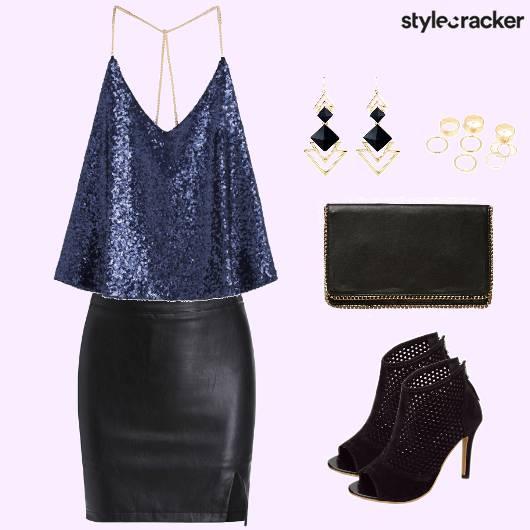 PartyWear SequinnedTop LeatherSkirt  - StyleCracker