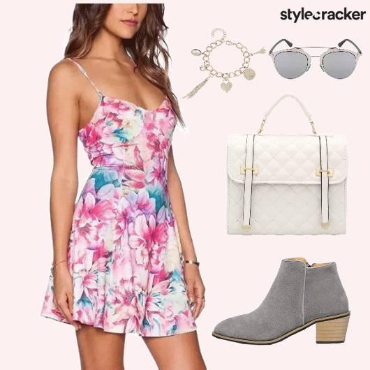 Dress Floral Print Bag Shoes - StyleCracker