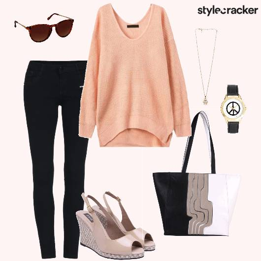 Sweater Jeans Peeptoes Handbag Casual - StyleCracker