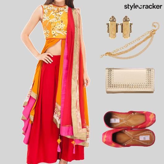 EthnicIndian LongJacket PalazzoPants ContrastColours  - StyleCracker