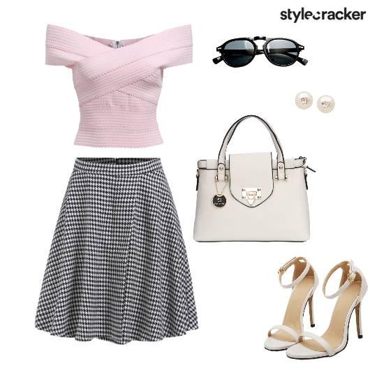 Offshoulder top Skaterskirt heels - StyleCracker