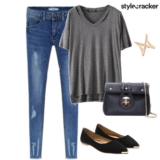 Denim Ripped Tshirt Casual  - StyleCracker
