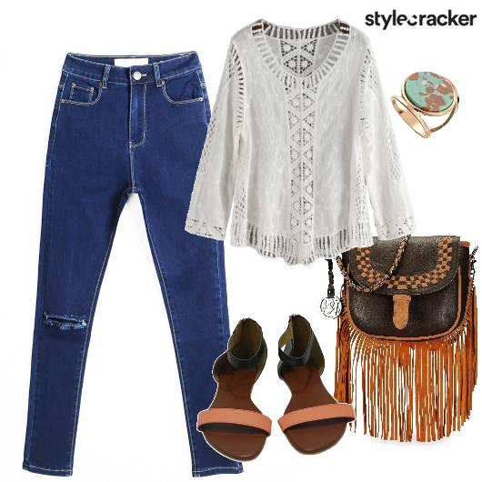 Ripped Jeans Fringe Bag Daywear - StyleCracker