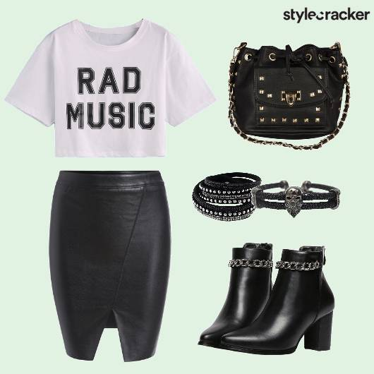 Crop Top Leather Bodycon Skirt Boots  - StyleCracker