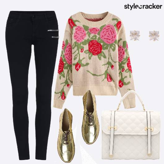 Floral Sweater Winter College Days - StyleCracker