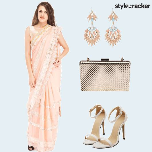 Saree Lace Peach Stilettos Clutch - StyleCracker