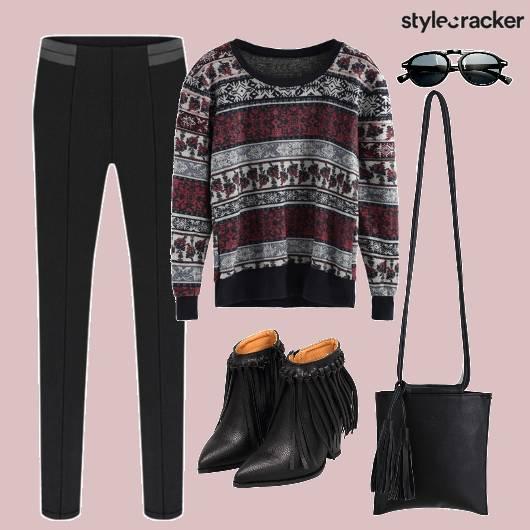 Sweater Top Print Fringe  - StyleCracker