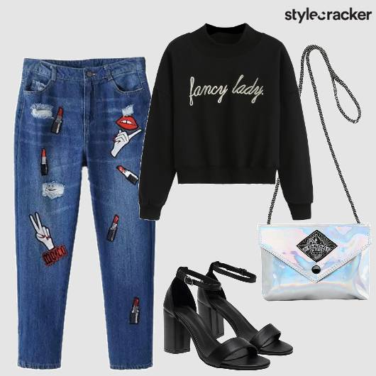 Patchwork Jeans Holographic Sling Streetstyle - StyleCracker