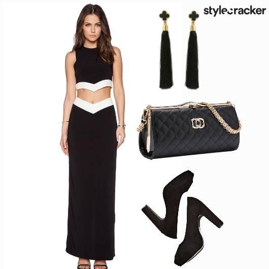 Croptop Skirt Sling Earrings Black - StyleCracker