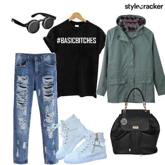Parka Distressedjeans Tshirt Hightops Backpack - StyleCracker