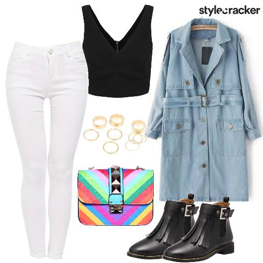Multicolored Boots Denim Coat Streetstyle  - StyleCracker