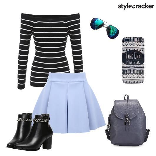 Pleatedskirt Offshouldertop Backpack Aviators - StyleCracker
