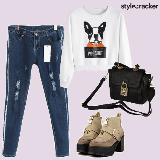 Jeans Graphic Sweater  Boots Sling Casual - StyleCracker