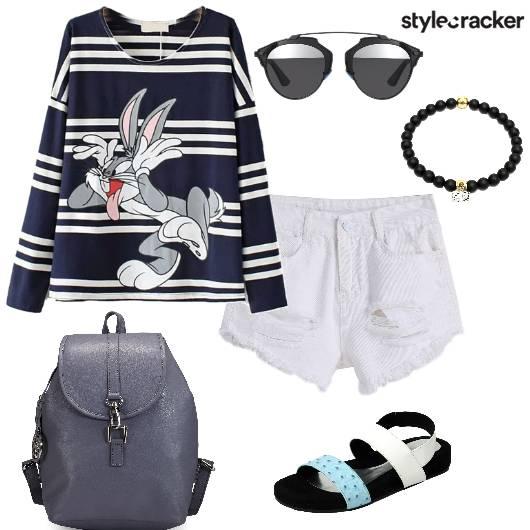 CartoonSweatshirt Shorts College Casual - StyleCracker