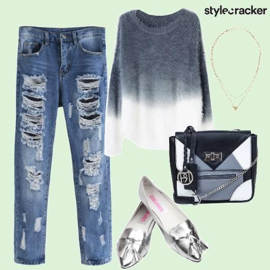 Ripped Jeans Ombre Sweatshirt Casual - StyleCracker