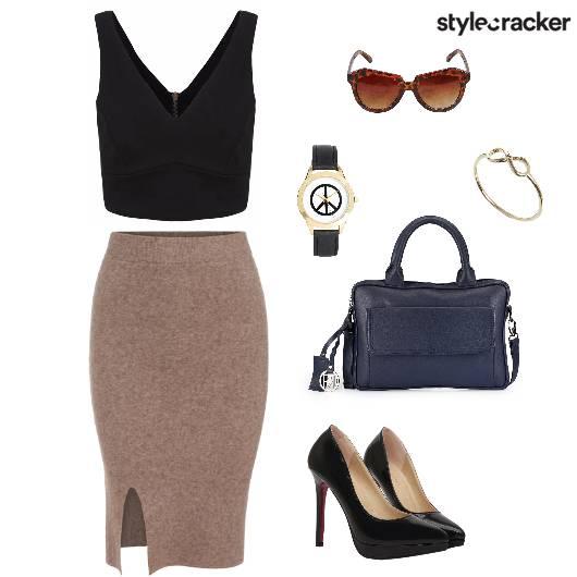 Pencilskirt Croptop Handbag Pumps  - StyleCracker