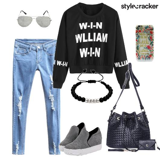 Sweatshirt Distressedjeans Plimsolls Bucketbag - StyleCracker