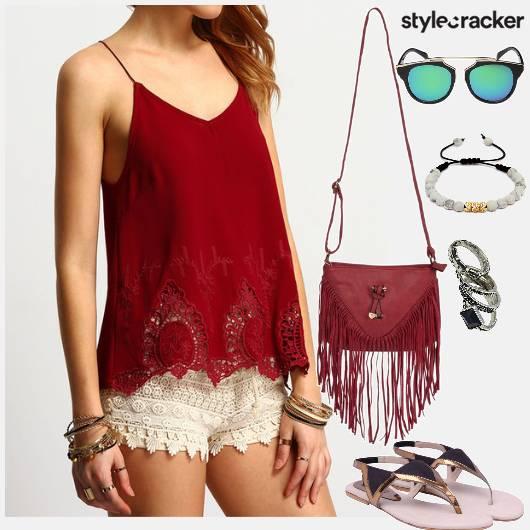 LaceTop Shorts Beach ShoppingDay DayWear - StyleCracker