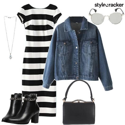 StripeDress DenimJacket Winter DayWear  - StyleCracker