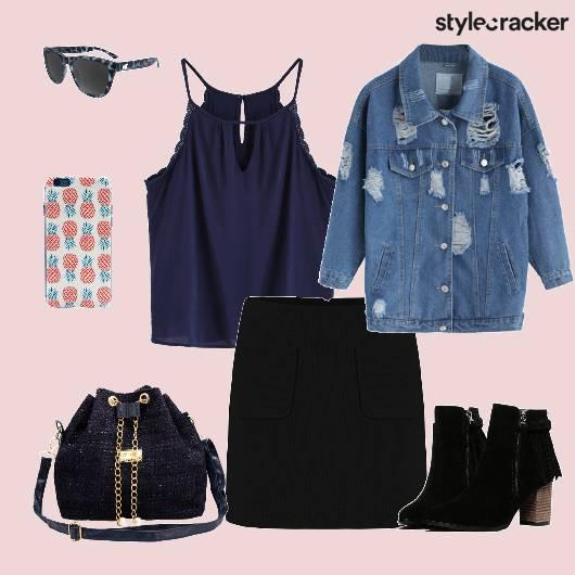 Denimjacket Top Skirt Bucketbag  - StyleCracker