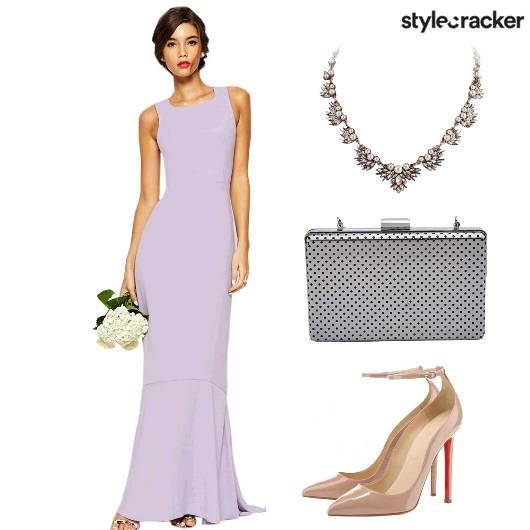 Gown Neckpiece Clutch Heels - StyleCracker