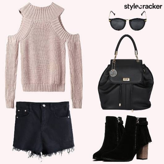 Ribbed Shorts Backpack Boots - StyleCracker