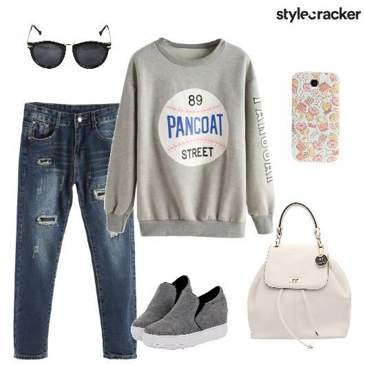 Sweatshirt Distressedjeans Backpack Plimsolls - StyleCracker