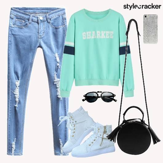 Sweater Denim Ripped Shoes - StyleCracker