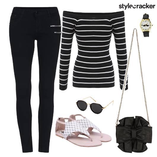 Stripes Top Jeggings Bag Flats  - StyleCracker