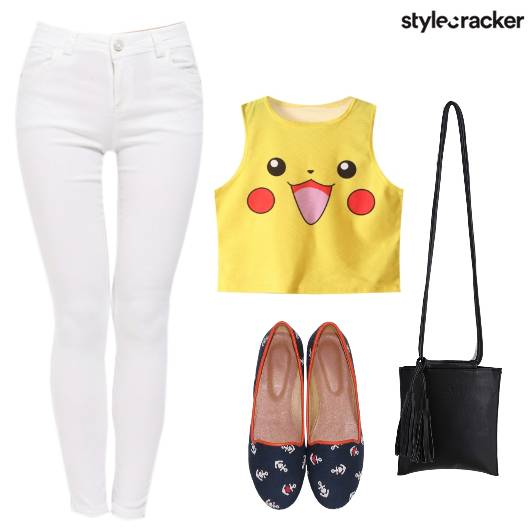 Jeans Cartoon Top Casual  - StyleCracker