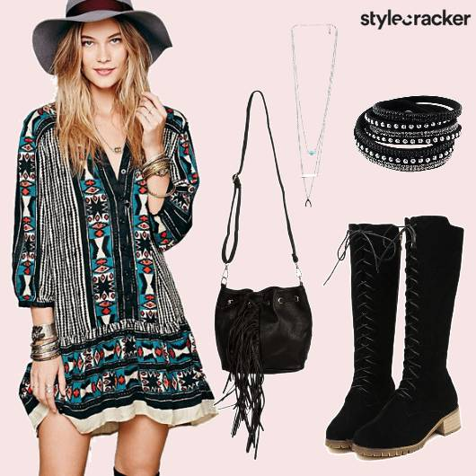 Printed Dress  Boots Slingbag  - StyleCracker