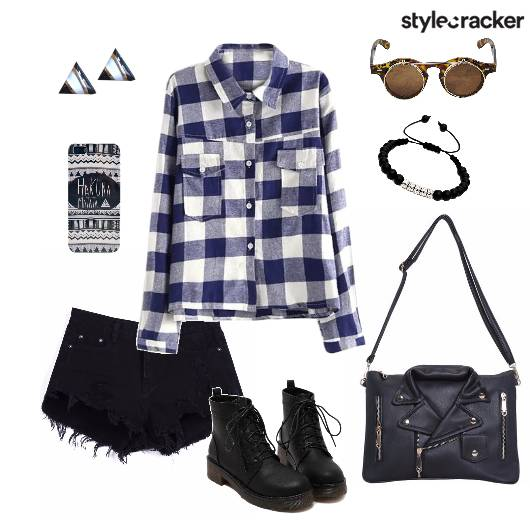 CheckedShirt Shorts LaceupBoots Casual  - StyleCracker