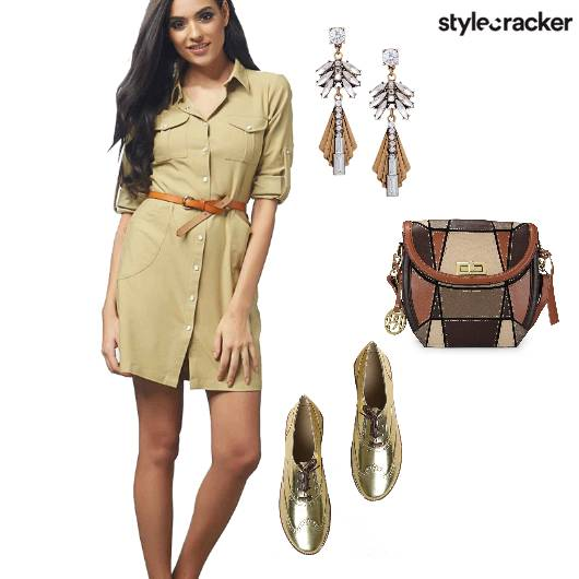 Khaki Dress Casual Mettalic  - StyleCracker