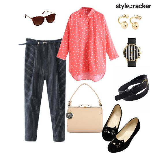 Shirt Trousers Pinstripes Handbag Flats Workwear - StyleCracker