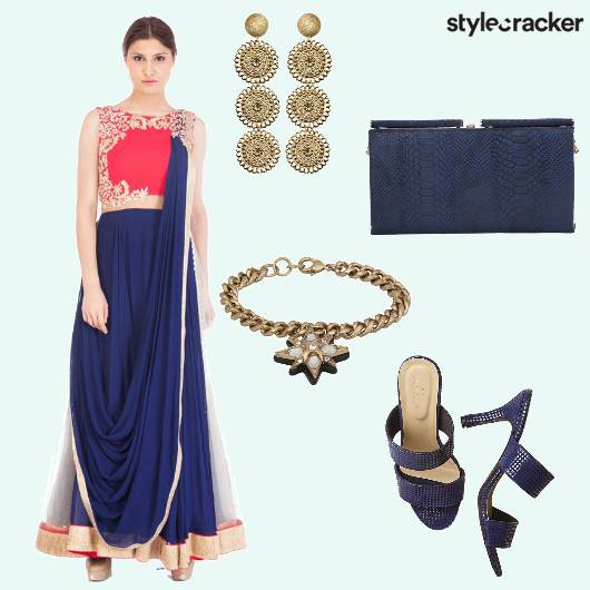 Lehenga Choli Danglers Clutch  - StyleCracker
