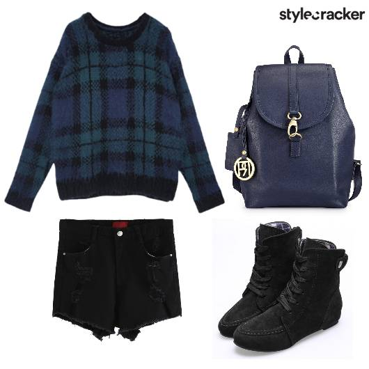 Shorts Sweater Boots Backpack - StyleCracker