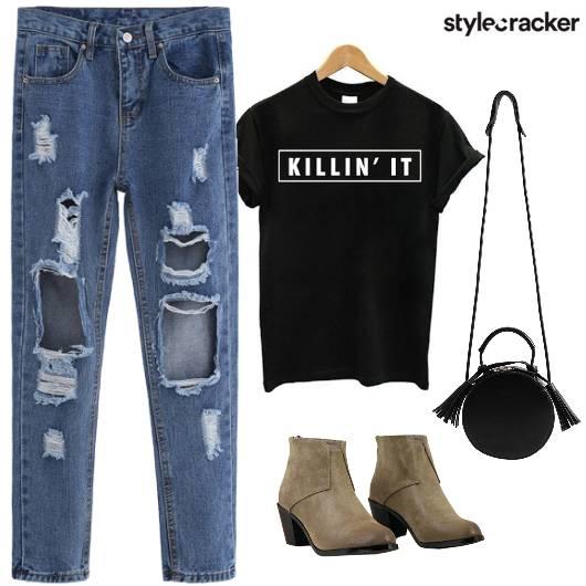 RippedJeans GraphicTee Boots SlingBag  - StyleCracker