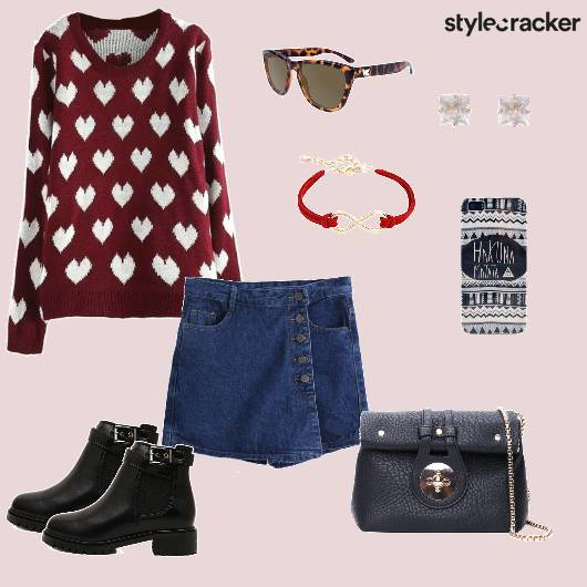 Printed Sweater Skort Boots Slingbag Casual - StyleCracker