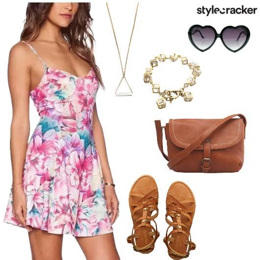 FloralDress TanShoes TanBag DayWear - StyleCracker