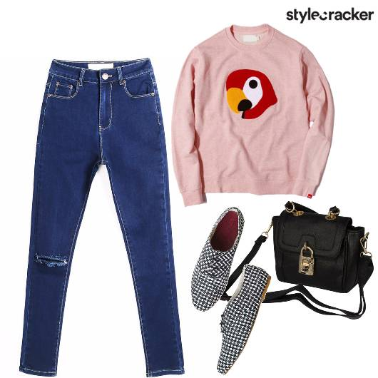 Ripped Denim Sweater Winter Days - StyleCracker