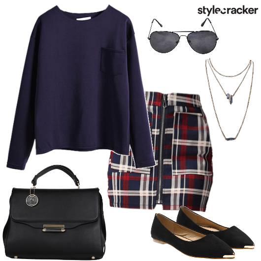SweatShirt PlaidSkirt WinterFashion Evening  - StyleCracker